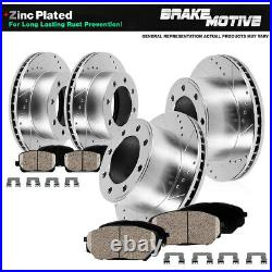 Front+Rear Drill Brake Rotors & Ceramic Pads For 2013 2019 Ford F250 F350 4WD