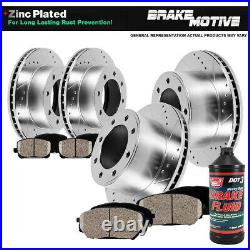 Front+Rear Drill Slot Brake Rotors And Ceramic Pads For 2005 2006 Ford F250 F350