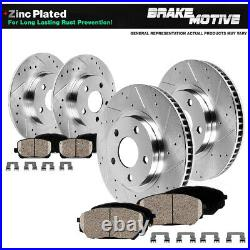Front+Rear Drill Slot Brake Rotors And Ceramic Pads For 2009 -2013 2014 Acura TL