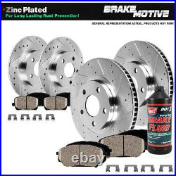 Front+Rear Drill Slot Brake Rotors And Ceramic Pads For 2010 2013 Kia Forte