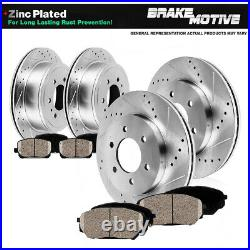 Front & Rear Drill Slot Brake Rotors And Ceramic Pads For Cadillac Chevy GMC