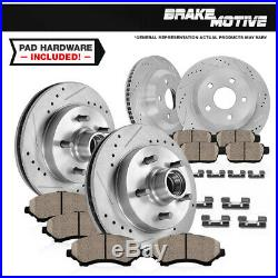 Front + Rear Drill Slot Brake Rotors And Ceramic Pads For Chevy Caprice Impala