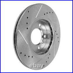 Front+Rear Drill Slot Brake Rotors And Ceramic Pads For Dodge Ram 1500 2500 3500