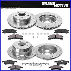 Front + Rear Drill Slot Brake Rotors And Ceramic Pads For Jeep Grand Cherokee
