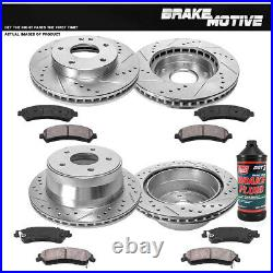 Front & Rear Drill Slot Brake Rotors And Ceramic Pads For S-10 Envoy Sonoma