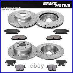 Front+Rear Drill Slot Brake Rotors And Metallic Pads For Chrysler Dodge 2WD RWD