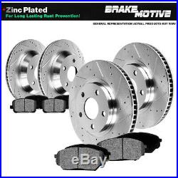 Front+Rear Drill Slot Brake Rotors And Pads For 2005 2006 2010 Ford Mustang