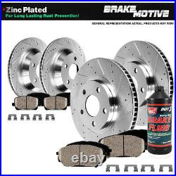 Front+Rear Drill Slot Brake Rotors & Ceramic Pads For Infiniti G35 G37 G37X Q60