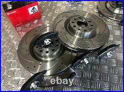 Front & Rear Drilled Grooved Discs & Brembo Pads Audi S3 Vw Golf R32 03-13 345mm