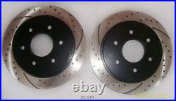 Front and Rear Drilled and Slotted Disc Brake Rotors With Ceramic Pads