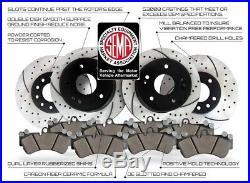 Front and Rear Kit Drilled & Slotted Brake Rotors & Ceramic Brake Pads