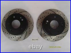 Front and Rear Kit Drilled & Slotted Brake Rotors & Ceramic Pads 02-06 RSX Base