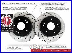 Front and Rear Set Premium Drilled & Slotted Disc Brake Rotors & Ceramic Pads