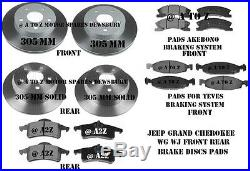 Jeep Grand Cherokee Wg Wj Front And Rear Brake Discs Pads Set 1999-2004 305 MM