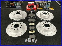 Performance Front Rear Drilled & Curved Grooved Brake Discs And Mintex Pads Set