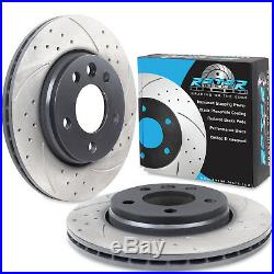 REAR DRILLED GROOVED 294mm BRAKE DISCS PAIR FOR VW TRANSPORTER T5 2.0 3.2 TDI