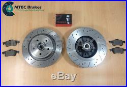 Renault Megane 225 04-09 Drilled Grooved Front Rear Brake Discs +Brembo Pads ABS