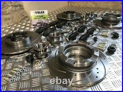 TRANSIT FRONT REAR DRILLED GROOVED DISCS PADS SENSORS & BEARINGS TDCi MK7 SWB