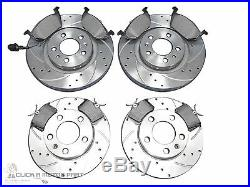 VW GOLF MK4 GTi TURBO FRONT & REAR DRILLED & GROOVED BRAKE DISCS MINTEX PADS