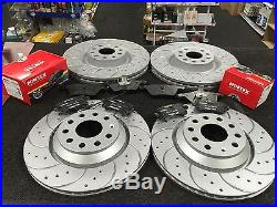 VW GOLF MK5 2.0GTi BRAKE DISC CROSS DRILLED GROOVED WITH BRAKE PAD FRONT REAR
