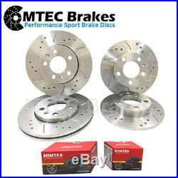 VW Transporter T5 2.0TDi 10-14 Drilled & Grooved Front & Rear Brake Discs & Pads