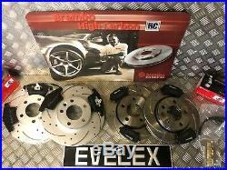 VW Transporter T5 Front & Rear Drilled & Grooved Brake Disc & BREMBO BRAKE PADS
