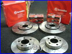Vw Golf Mk4 1998-2004 Brake Disc Brembo Drilled Grooved Mintex Pads Front Rear