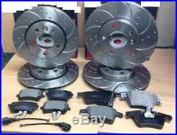 Vw Transporter Caravelle 1.9 2.5 Tdi T5 Front & Rear Drilled Grooved Discs Pads