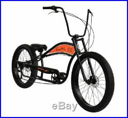 Wide Big Fat Tires Stretch Cruiser Bicycle 7 Speed 29x3 Front Rear Disc Brake