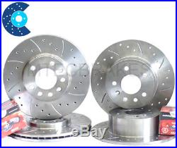 Zafira 2.0 GSi Turbo 01-05 Drilled Grooved Brake Discs Front Rear & Mintex Pads